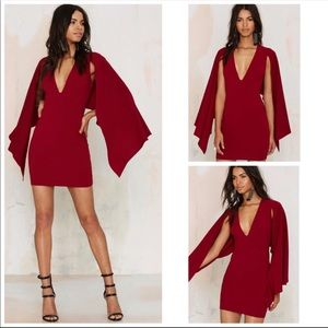 """Nasty Gal """"Kendra"""" Plunging Cape Dress"""